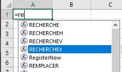 Excel 365 : Comment trouver la fonction RechercheX .